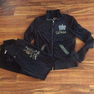 Juicy Couture black and  gold  jacket L / pants M